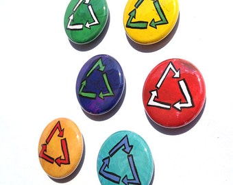 Recycling Magnets or Pins - 1 inch Recycle Magnet Set, Recycle Pinback Buttons, Fridge Magnets, Environmental, Environmentalist, Green