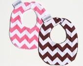 Pink & Brown Chevron - Baby Bib Set - Girl Baby Gift Set - Chevron Baby Bib Set