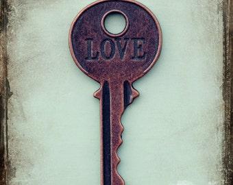 Vintage Key Photo, Love Photography, Word Photo, Fine Art Print, Love Art, Copper, Teal, Romantic Art, Abstract Art, Whimsy Photo, Wall Art