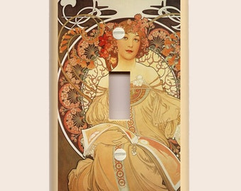 Alphonse Mucha - Reverie - Altered Art Single Light Switch Plate - Rich Earth Tone Colors of Gold and Brown