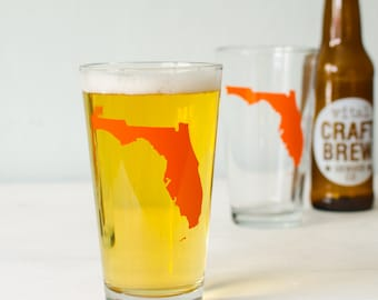 Florida pint glass SCREEN PRINTED pint glasses ORANGE