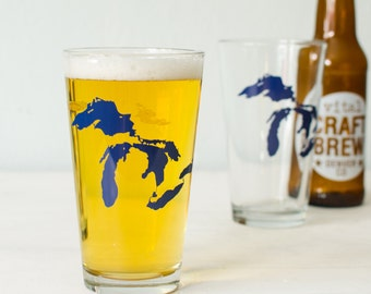 GREAT LAKES single PINT glass Huron, Ontario, Michigan, Erie, Superior hand screen printed