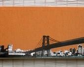 Brooklyn Skyline - Williamsburg Bridge Wall Hanging on Stretched Linen