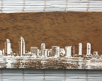 "San Diego Skyline Wall Hanging on Reclaimed Barn Wood - 7""x18"""