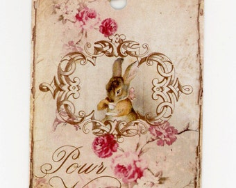 Tags , Shabby Vintage Rabbit Gift Tags , Pour Vous , French Tags , Beatrix Potter , Shabby Roses Tag
