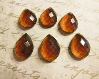 VIntage faceted stones (6)  glass teardrop 14 x 10mm topaz amber root beer pear faceted West German rhinestones (6)