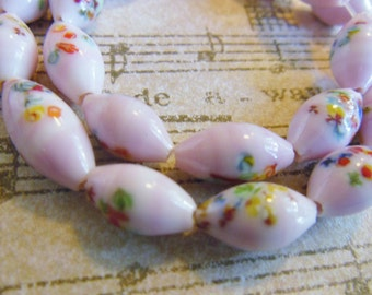 Vintage beads (10) Japanese glass millefiori millifiore oval rice beads Pink angelskin floral multicolor  (10)