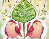 christmas art - scandinavian - folk painting - watercolor,  8 x 10 limited edition and archival print by cori dantini