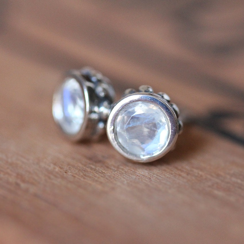 Moonstone Stud Earrings Rainbow Moonstone Earrings Bezel