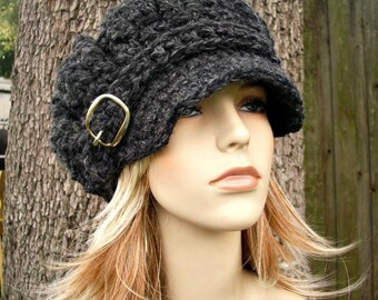 Charcoal Grey Newsboy Hat Crochet Hat Womens Hat Grey Hat - Oversized Monarch Ribbed Crochet Newsboy Hat - Womens Accessories