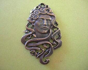 Goddess Pendant Vintage Art Nouveau Woman large cast bronze tone charm lot of 1
