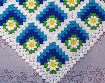 PDF Pattern Crocheted Baby Afghan, Mitered Summer Daisy Baby Afghan Blanket Pattern
