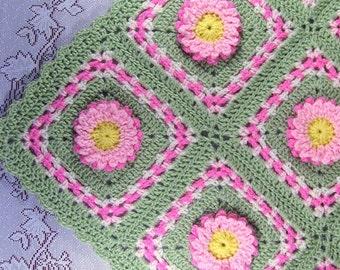 PDF Pattern Crocheted Baby Afghan, Pastel Blooms Car Seat Size Baby Afghan Blanket Pattern