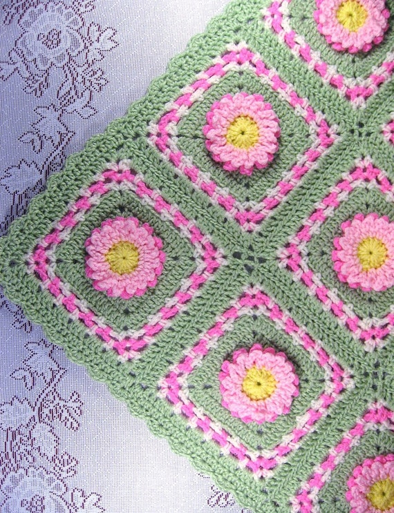 Pdf Pattern Crocheted Baby Afghan Pastel Blooms Car Seat Size