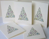 Christmas Cards, 5 Christmas Tree Cards Set, Blank Note Cards, Greeting Cards, Pastel Christmas Tree Cards, Holiday Cards, Winter Stationery