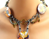 Angel Time Traveler Steampunk Buttons Choker Chain Necklace