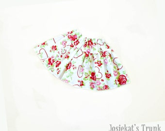 Shabby Roses and Hearts Skirt Twirl Infant Toddler Fabric 0/6 6/12 12/18 18/24 2T 3T 4T
