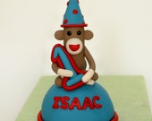 Sock Monkey Cake Topper with Your Child's Name