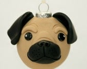 Ready to ship! Fawn Brown Pug Dog Round Tree Ornament Dog Breed Art Polymer Clay