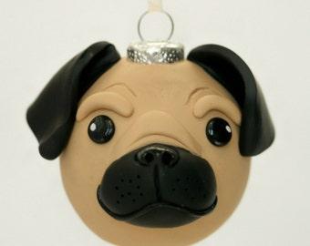 Fawn Brown Pug Dog Round Tree Ornament Dog Breed Art Polymer Clay