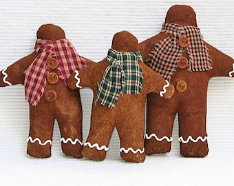 Gingerbread Man Ornament. Faux Gingerbread Family Set of 3. Cloth Holiday Christmas Decoration. Winter Holiday Decor. Prim Folk Art Ornie