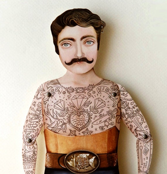 Tattoo Tough Guy Paper Puppet - Sir Craig, Dapper Mustached Spring Victorian Hustler for summer easter birthday wedding bestfriend gifts