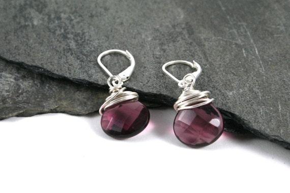 Purple Quartz Earrings Lever Back- Briolettes- Non-Oxidized