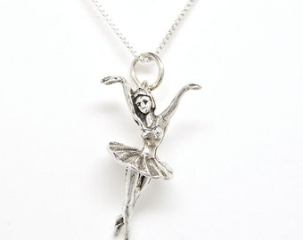 Sterling Silver Ballerina Ballet Dancer Charm Pendant  Customize no. 1918