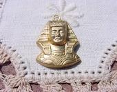 Egyptian Revival King Tut Pharaoh Vintage Brass Charm