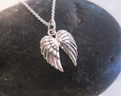 Double wings sterling silver necklace Perfect everyday necklace! Great gift for her.