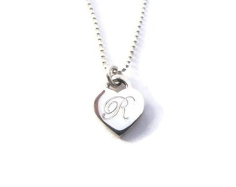 Solid sterling silver personalized heart necklace