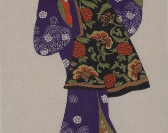 Tenugui 'Courtesan' Cotton Japanese Geisha Fabric w/Free Insured Shipping