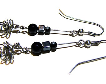 Dangle Earrings -  Onyx, Hematite, Snowflake Obsidian, Sterling Silver