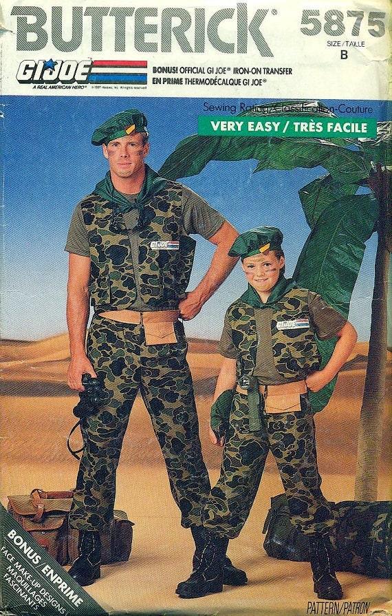 Butterick 5875 BOYS Multi-Sized G.I. JOE Costume Pattern circa 1987