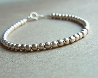 The Perfect Silver Bead Bracelet // Brushed Round Beads // 3.25mm // Minimalist