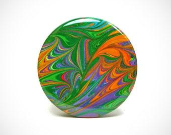 Marbled Magnet 3 Large Bright Rainbow Leaf Marbled Paper 2.25 inch Round Magnet - Office, Kitchen, Locker - Gifts Under 5 Dollars
