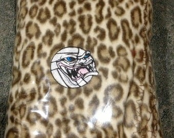 """Personalized Blanket Embroidered Volleyball Leopard Spots Fleece 50"""" x 60"""" VB Athlete"""