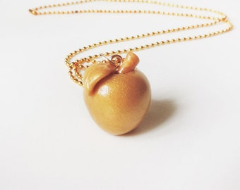 Autumn Golden Apple Necklace Polymer Clay Charm