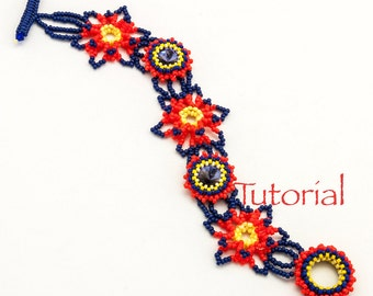 Beadweaving Pattern Firecracker Bracelet Tutorial Digital Download