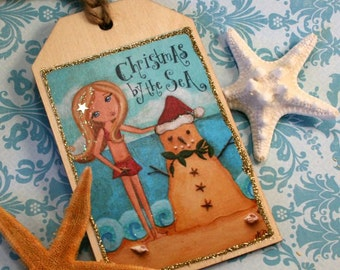 Gift topper- Gift Tag- Beach Christmas Decor - Personalized Christmas Tree Ornament - Christmas by the Sea- Handmade Art Ornament