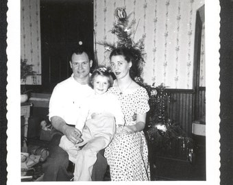 Vintage photo Mom dad and Julie Christmas