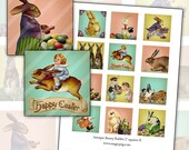 Antique Bunny Rabbit 2 inch squares II digital collage sheet 50 mm 2x2 50.8 mm x 50.8 mm