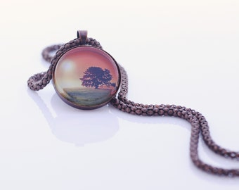 Landscape Image Necklace, The Old Oak Tree At Sunset, Vintage Copper, Photography, Photo Jewelry