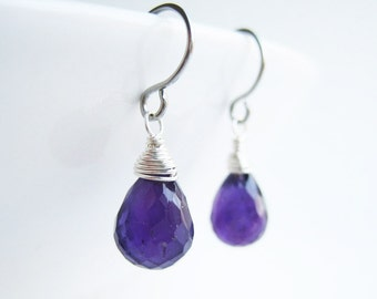 Purple Amethyst Earrings - February birthstone, dark purple genuine gemstone, bridesmaid small drop, available in silver, gold, bronze