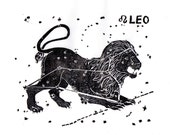 Leo Constellation Linocut in Black and White - Constellations of the Zodiac Lino Block Print Collection, Leo the Lion