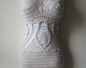 Crochet monokini, Crochet dress, Crochet cover up, festival clothing, Offwhite monokini , beach cover up, summer dress, resort wear, party