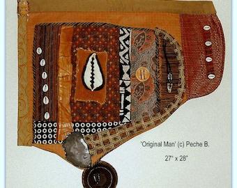 African American Art Quilt Original Man