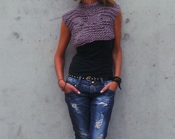 cropped sweater / handknit cropped sweater / Heather toned  Bamboo cropped tank/vest