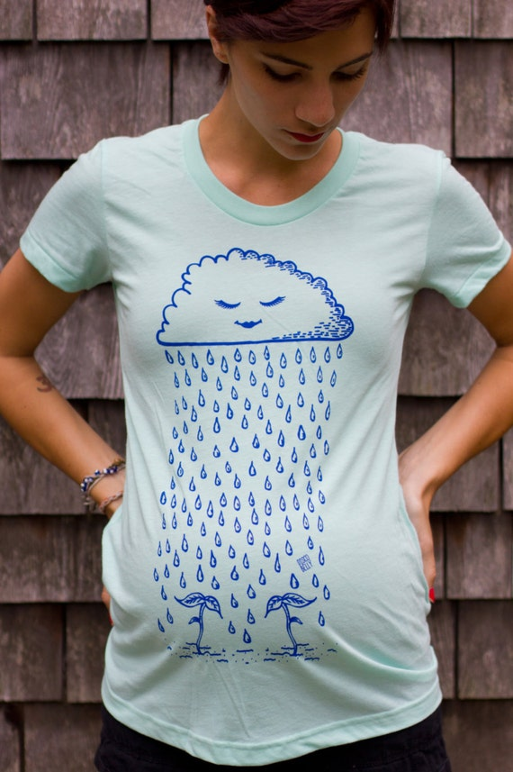 Twin Sprouts Maternity Tshirt - Original Rain Cloud Design - Mint Green (Made in USA)