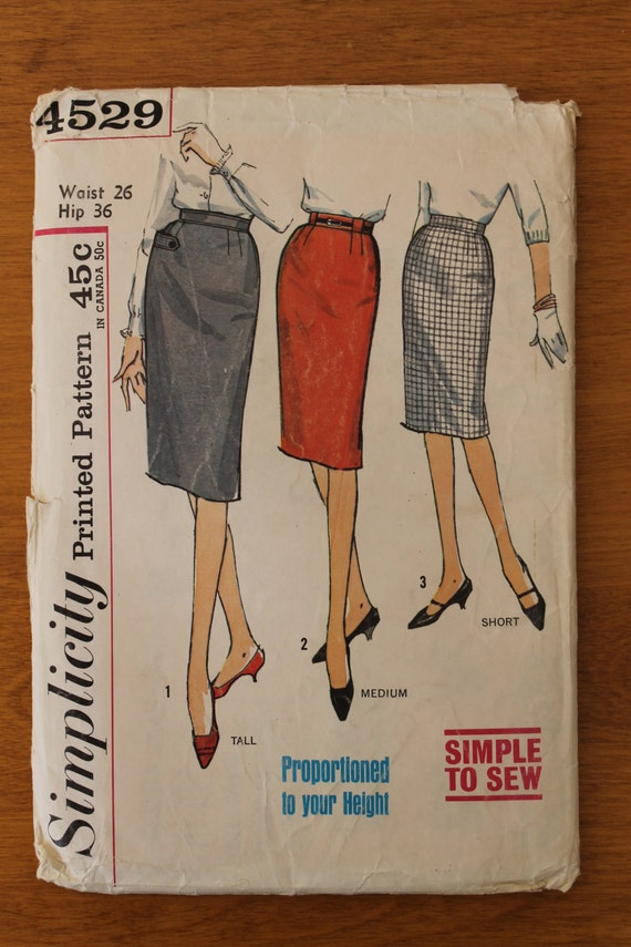 items similar to vintage 60s pencil skirt sewing pattern